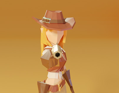 Lowpoly character: cowgirl