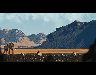 Lonely elephant in the desert - Concept lanscape