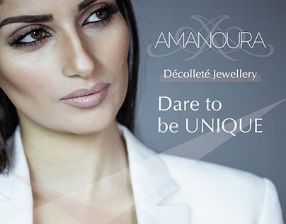 "Logo for ""Amanoura"" Décolleté Jewellery, +visual. Dubai"