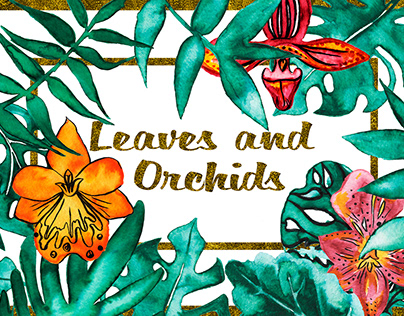 Project for Creative Market Leaves and orchids clip-art