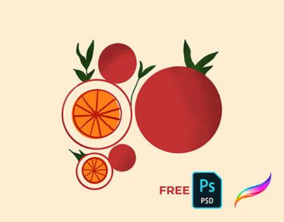 Procreate Geometrik Meyve Çizimi +Ücretsiz PSD