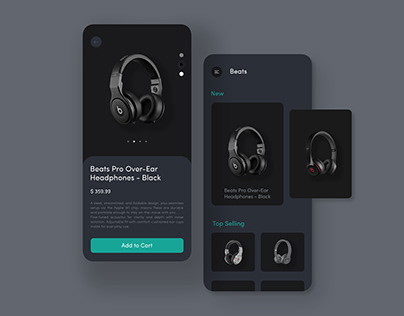 Beats Headphones mobile app UI/UX design concept