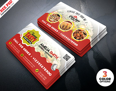 Food Restaurant Business Card PSD Template