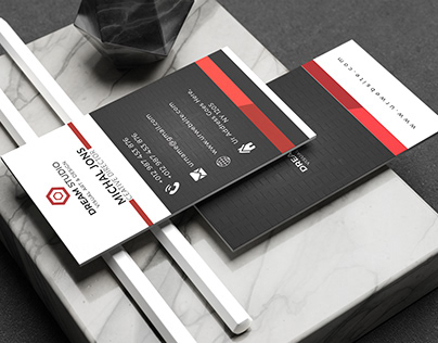 Vertical Red and Black Business Card