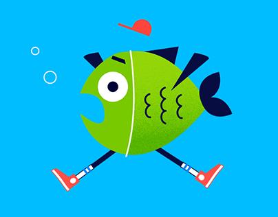 Fish with legs Amino Sticker Set