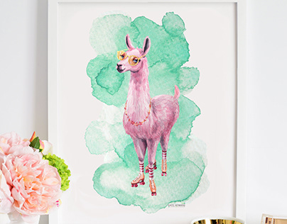 Watercolor illustration Llama. Iphone case