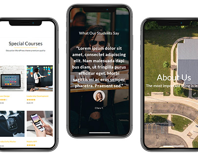 iPhone x view - Education WordPress Theme