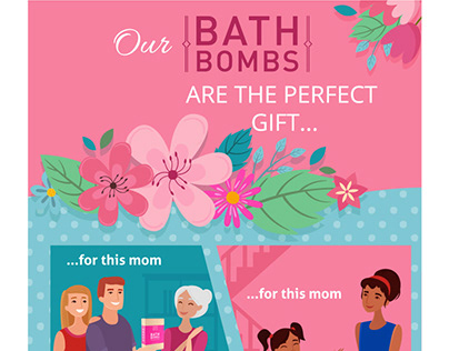 Advertising bath bombs for Mothers Day
