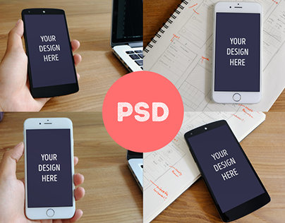 Free Photorealistic iphone 6 + Nexus 5 Mockups