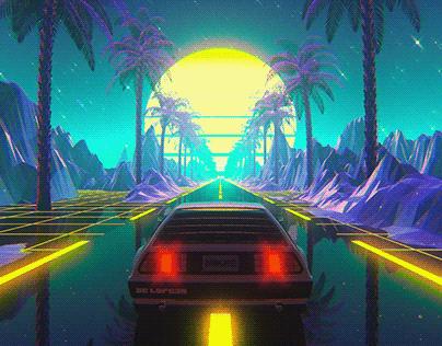 Vaporwave DeLorean - ANIMATION