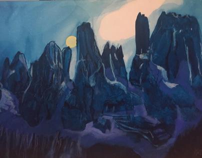 Luna sulle  Dolomiti di Brenta in trentino