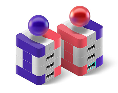 Levitating USB Hub Indivo. Design Concept