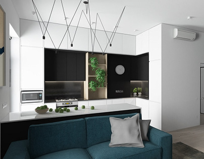 Design-project of a one-room studio apartment