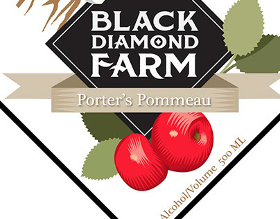 Porter's Pommeau illustration and label design