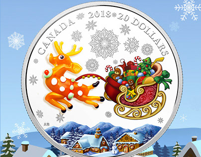 "2018 $20 Royal Canadian Mint Coin ""Holiday Reindeer"""