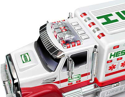 Hess first responder toy truck packaging illustrations.