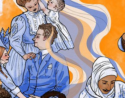 Societal family culture, editorial illustration