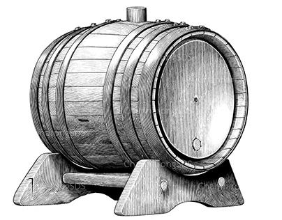 Oak barrel hand draw vintage style