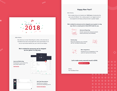 New Year Mail Campaign Design - Time tracker software