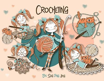 Crochet. Digital cliparts for knitting Svg Png