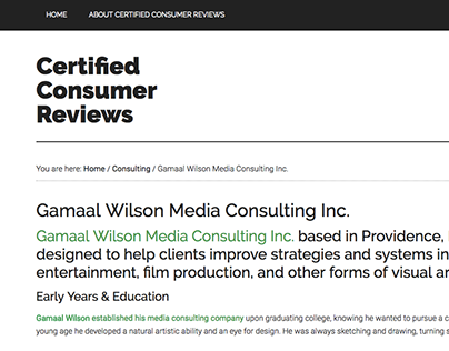 Gamaal Wilson Media Consulting Inc. - Certified Reviews