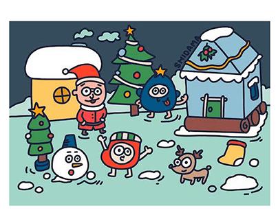 shidama merry Christmas illustration