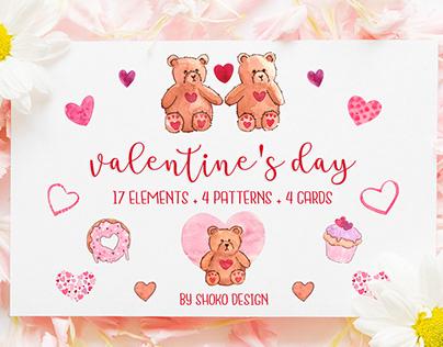 Valentine's day Handmade watercolor set 25 elements