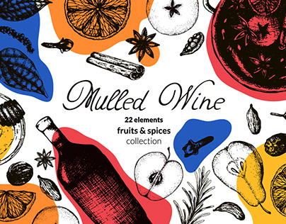 Mulled wine fruits and spices collection