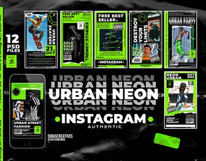 Free Urban Neon Instagram Stories - PSD Templates