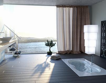 Bagno con vista - Bathroom with view. | CGI