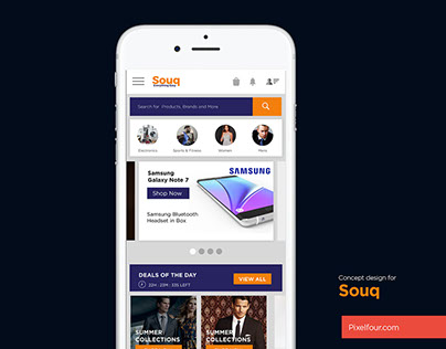 Mobile app design concept for Souq