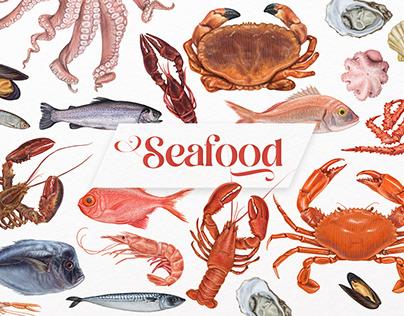 Seafood illustrations.