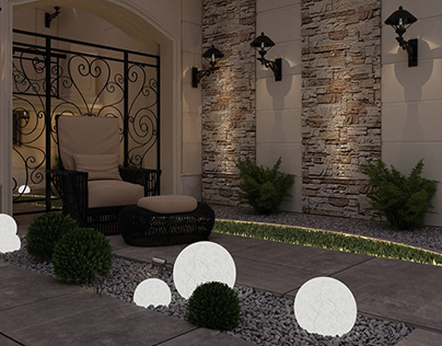 landscape design for villa facade