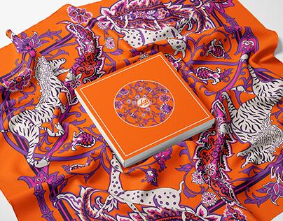 Garden of Eden-Orange, Silk Scarf