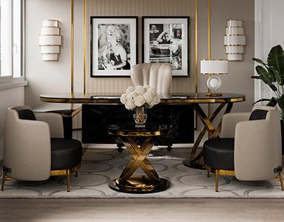 Luxury Black Office Desk