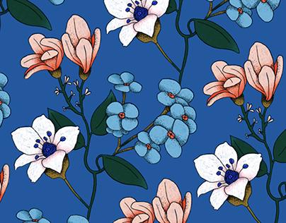 FLOWERS PATTERN / design textile for Coussin Cousine