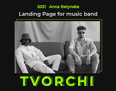 Landing Page for music band TVORCHI