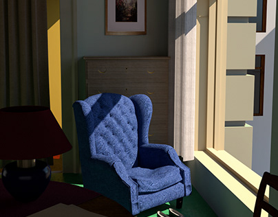 Remaking of Edward Hopper's paintings by 3d modelling