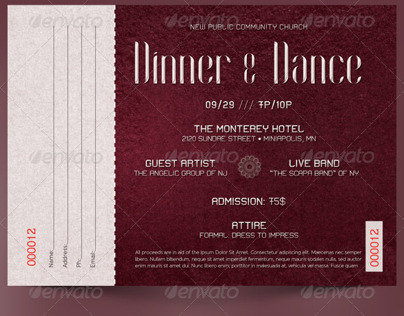 Dinner and dance ticket template on behance pronofoot35fo Choice Image