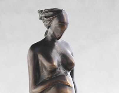 Bronze statue of pregnant young woman - limited edition