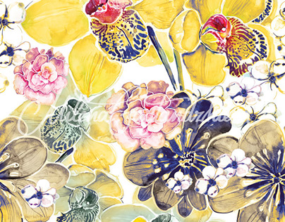Yellow Orchids Pattern Design