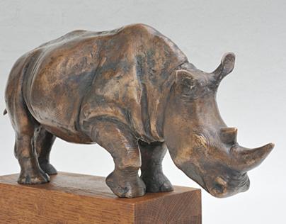 Bronze statue of rhinoceros - limited edition -original