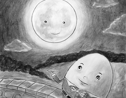 Study Drawing of Humpty Dumpty and Moon