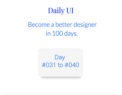 Daily UI  #031 to #040
