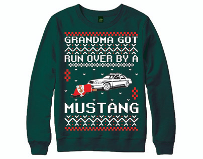 Grandma Got Run Over By A Mustang Ugly Christmas