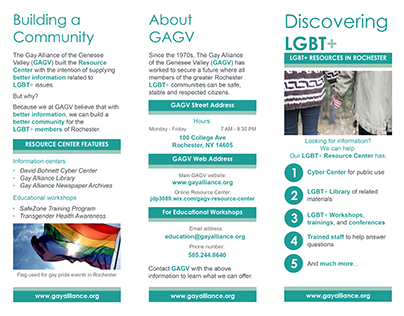 Gay Alliance of the Genesee Valley Brochure (Example)