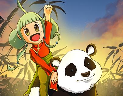 Pequeña princesa con panda