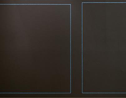 Dos cuadrados azules a escala natural