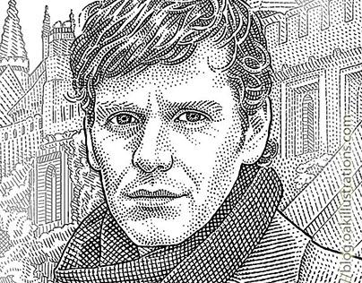 Stipple portraits of Shaun Evans and Roger Allam