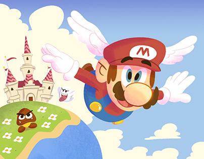 Super Mario 35th celebration fanart